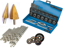 Drill bits, discs, cutters and screw taps